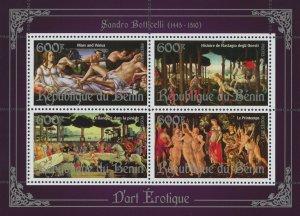 Erotic Art Paintings Sandro Botticelli Souvenir Sheet of 4 Stamps Mint NH