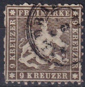 Wurttemberg #39b Used CV $190.00 (Z7131)