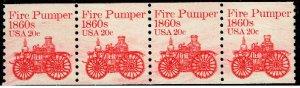 US STAMP #1908 – 1981 20c Fire Pumper coil MNH STRIP OF 4 XFS