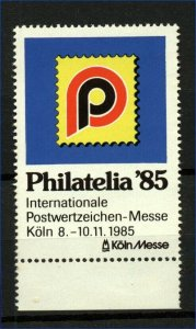 Germany 1985 Cologne Philatelic Exhibition Label