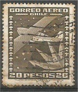 CHILE, 1935  used 20p ,Airplane Scott C47