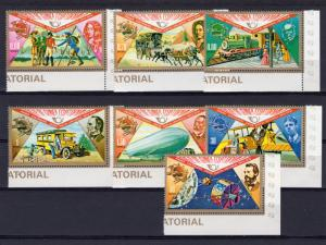Equatorial Guinea 1974 UPU Centenary/Space/Train/Zeppelin Set (7) Perforated MNH