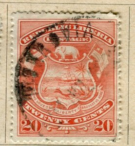 LIBERIA; 1896 early Pictorial issue fine used 20c. value