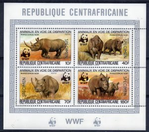 Central African Rep.1983 WWF Rhino S/S Ovpt.SPECIMEN MNH Mi.# 985A/88A