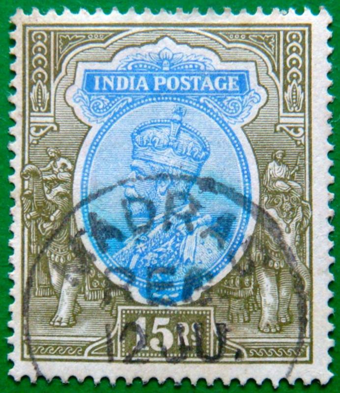BRITISH INDIA 1913 15Rs King George V Used WATERMARK