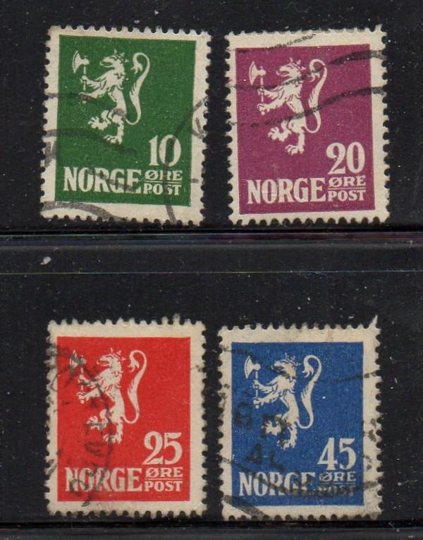 Norway Sc 100-3 1922-24 Lion Rampant stamp set used