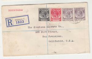 STRAITS SETTLEMENTS, 1937 Registered cover to USA, 1c., 6c., 10c.(2).