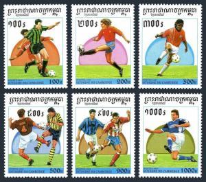 Cambodia 1590-1595,1596,MNH.Michel 1673-78,Bl.225. World Soccer Cup France-1998.