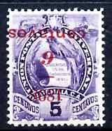 Guatemala 1898 6c on 5c with surcharge inverted fine but ...