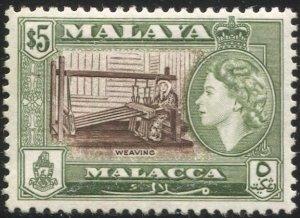 MALAYA Malacca 1957  $5 MNH, Sc 55 / SG 60  VF, Weaving