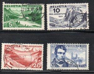 Switzerland Sc B57-60 1931 Pro Juventute Views stamp set used