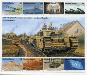 Togo 1995 MNH WWII WW2 VE Day 50 End World War II 8v M/S Aviation Ships Stamps