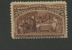 1893 US Stamp #234 5c Mint Never Hinged Fine Catalogue Value $150