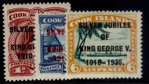 COOK ISLANDS GV SG113-115, SILVER JUBILEE set, M MINT. Cat £13.