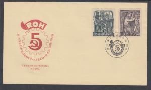 Czechoslovakia Sc 397-398 FDC. 1949 Construction Workers cplt