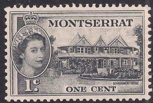 Montserrat 1953 – 62 QE2 1ct Government House MM SG 137 ( K1004 )
