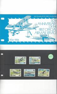 Isle of Man 262-6 First Official Airmail Service  MNH Presentation Folder