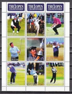 Tadjikistan, 1999 Russian Local. The Open-Golf sheet of 9.