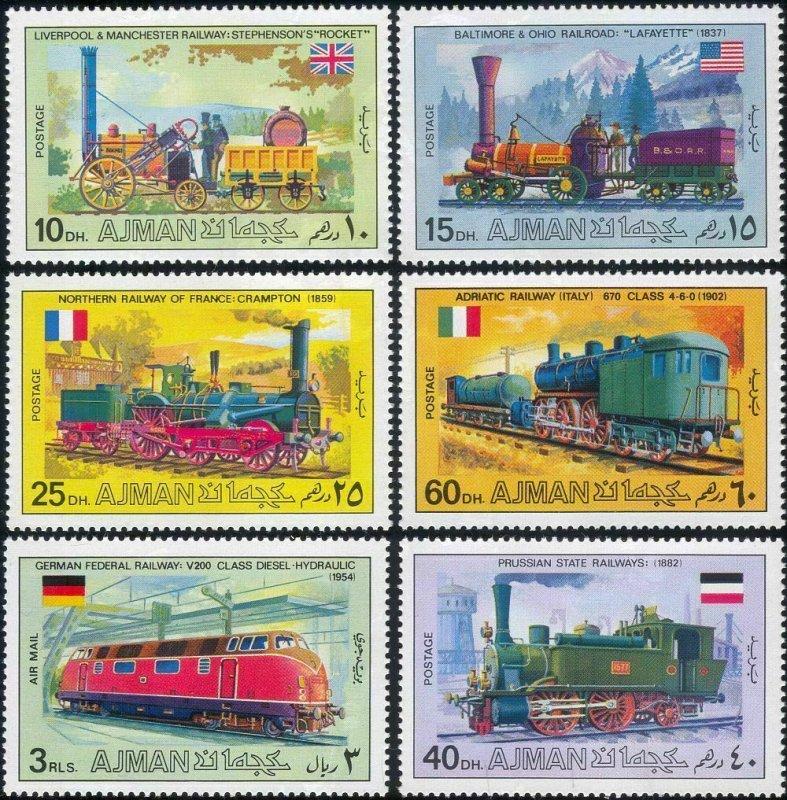 Ajman MNH 1197-1202 Transport Trains 1971