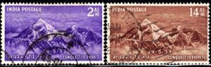 Conquest of Mt. Everest, May 29, 1953, India SC#244-245 used set