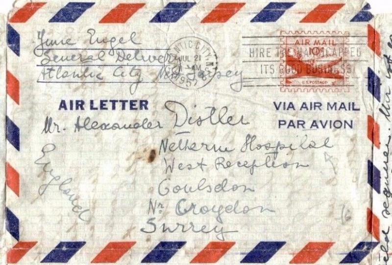 MS2803 1952 USA Air-Letter GB Surrey *Netherne Hospital* AUSTRIAN JEWISH DOCTOR