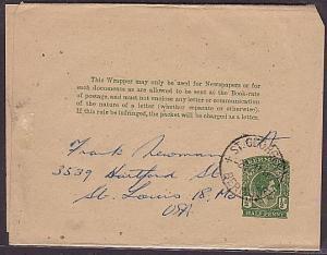 BERMUDA 1947 GVI ½d newspaper wrapper used to USA  (35347)