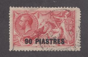 Great Britain, Turkey Sc 63 used 1921 90p on 5sh KGV & Seahorses