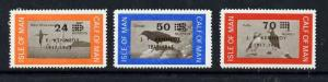 Calf of Man 1966 Kennedy first issue surch set of 3 on bi...