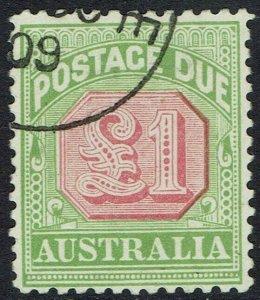 AUSTRALIA 1909 POSTAGE DUE 1 POUND PERF 12 X 12.5 USED/CTO