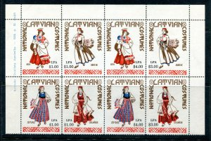x429 - LATVIA Costumes 1964 Patriotic Labels, Maybe US Charity. Block of 8. MNH