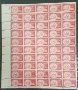 US #C44 25¢ Stratocruiser & Globe, Complete sheet of 50, og, NH, VF