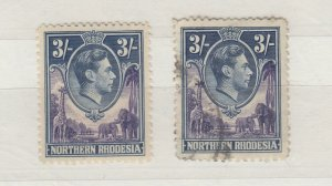 Northern Rhodesia KGVI 1938 3/- x 2 SG42 MVLH/VFU J9639