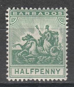 BARBADOS 1905 QV SEAHORSES 1/2D WMK MULTI CROWN CA