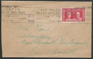 NEW ZEALAND 1935 1d Jubilee on cover - New Plymouth Jubilee cancel.........55965