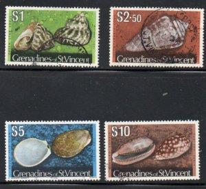 St Vincent Grenadines Sc 48-51 1974 Shell Hi Value stamps used