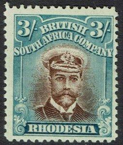 RHODESIA 1913 KGV ADMIRAL 3/- BROWN AND BLUE DIE II PERF 14