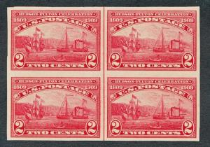 UNITED STATES 373 MINT NH VF, IMPERF BLK 4 WITH LINE, HUDSON FULTON, SHIP