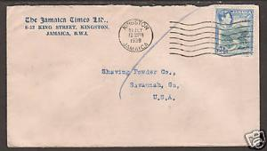 Jamaica Sc 120 on 1939 Commercial cover to Georgia F-VF