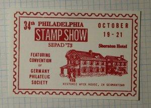 SEPAD Philadelphia Stamp Show 1973 Germany Philatelic Society Souvenir Ad Label