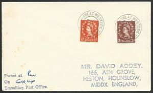 GB 1957 cover GREAT WESTERN TPO UP railway cancel..........................53357