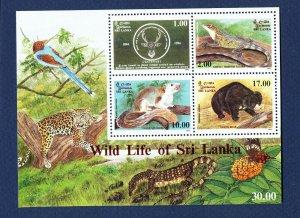 SRI LANKA - # 1109-1112a - VFMNH S/S - wild life, lizard, bear, squirrel  - 1994