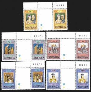 Antigua SC 501-512 * 25th Anniv QE II Coronation Gutter Pairs * MNH * 1978
