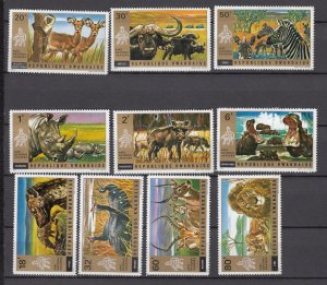 J27592 1972 rwanda set mh #444-53 wildlife