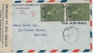 HAITI -  POSTAL HISTORY-  COVER to USA with HAITI CENSURE : 1942