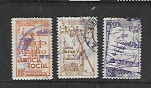 BOLIVIA, C69-C71, USED, 1938 ISSUE