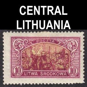 Central Lithuania Scott 41 perf 13 1/2 F+ mint OG HHR. Lot # B.