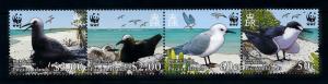 [78366] Pitcairn Islands 2007 Birds Vögel Oiseaux WWF Strip of Four MNH