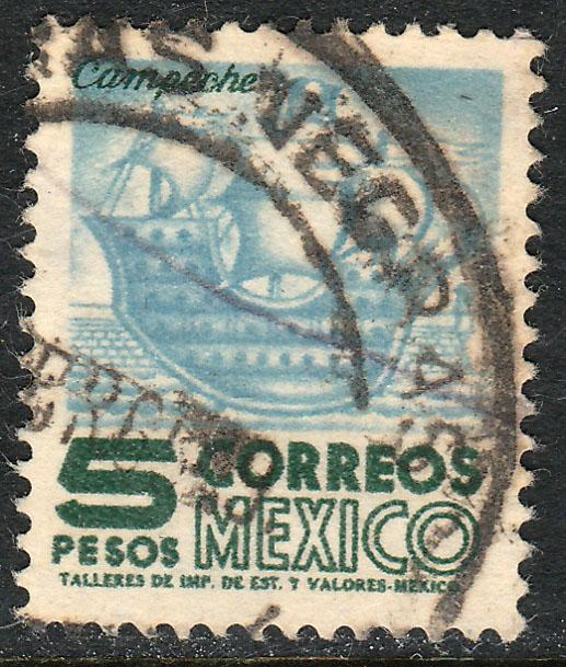 MEXICO 929, $5Pesos 1950 Definitive 2nd Printing wmk 300. USED. F-VF. (1420)