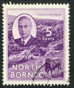 NORTH BORNEO 1950 KGVI 5c CATTLE Pictorial Sc 248 VFU