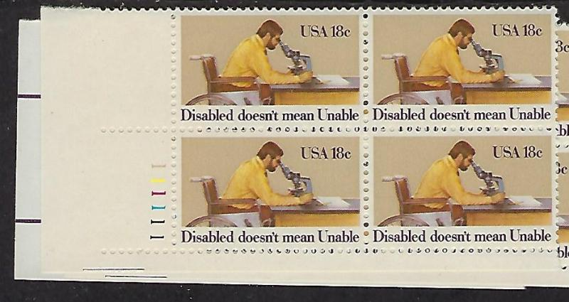 Catalog #1925 Plate Block of 4 Stamps Disabled Does not mean Unable_ Worker